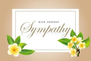 Condolences Sympathy Card Floral Frangipani Plumeria Bouquet Lettering Yellow Green Leaves Golden Vector Template 148353254